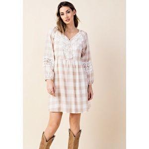 KORI America Beige White Plaid Lace Boho Dress